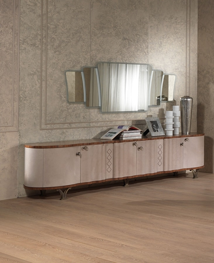 CR56K Mistral sideboard, Leather-covered sideboard, in classic contemporary style