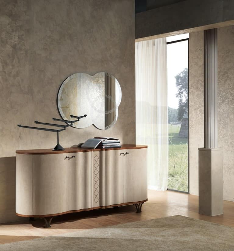 CR60 Mistral sideboard, Sideboard in leather-covered wood, for dining halls