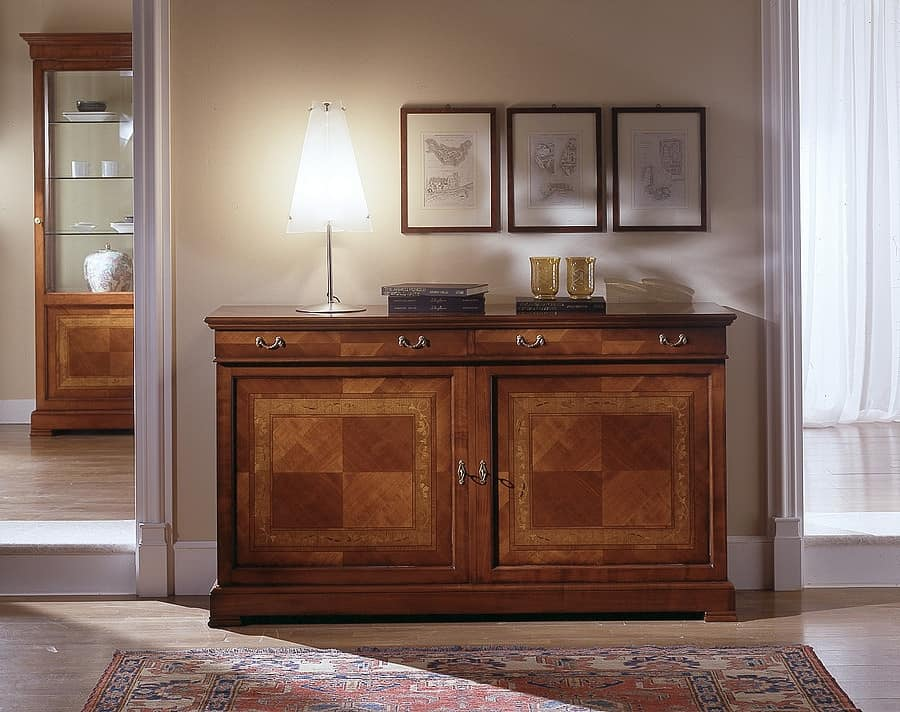 D 101, Sideboard in cherry wood, handmade, with floral inlay