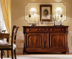 D'Este sideboard, Walnut sideboard with 2 doors and 2 drawers
