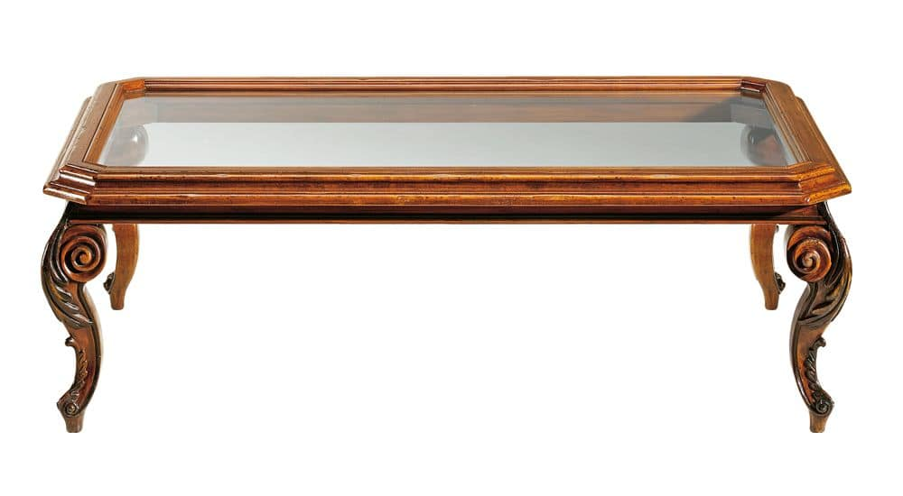 De chirico RA.0686.A, Rectangular coffee table in walnut, glass top, carved legs, for classic environments