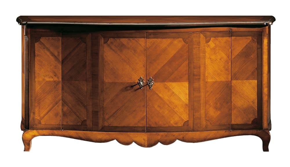 De Pisis RA.0647, Cupboard in walnut and cherry, decorated in herringbone pattern