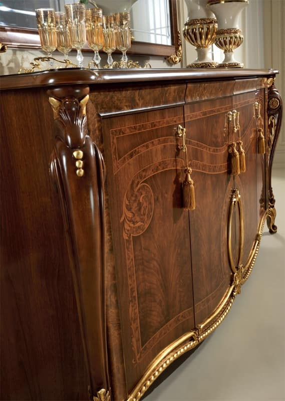 Donatello sideboard, Luxury classic sideboard, handcrafted inlays and carvings, glass top