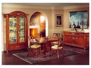 DUCALE DUCCR3P / Sideboard with 3 doors, Classic style sideboard, made of burr ash