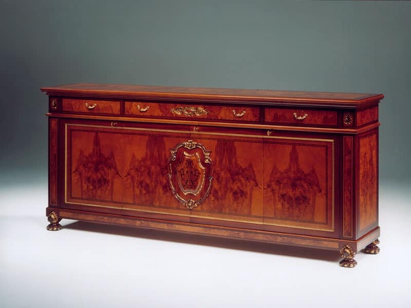 DUCALE DUCCR4P / Sideboard with 4 doors, Sideboard made of ash with gold finishings, classic style