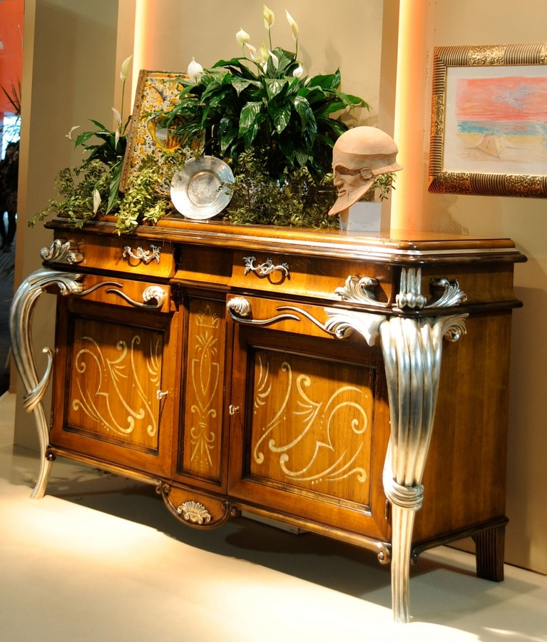 Empress LU.0031, Sideboard in walnut, with two doors inlaid in mother of pearl, central sliding carriage for bottles, inlaid herringbone, in classic luxury style