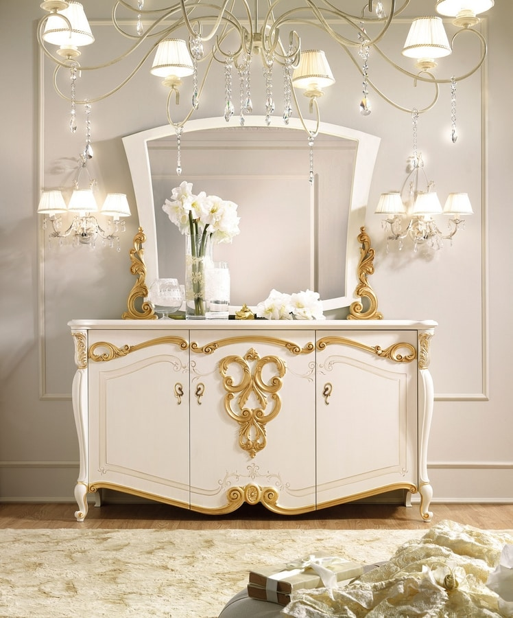 Fenice Art. 1606, White sideboard with gold leaf decorations