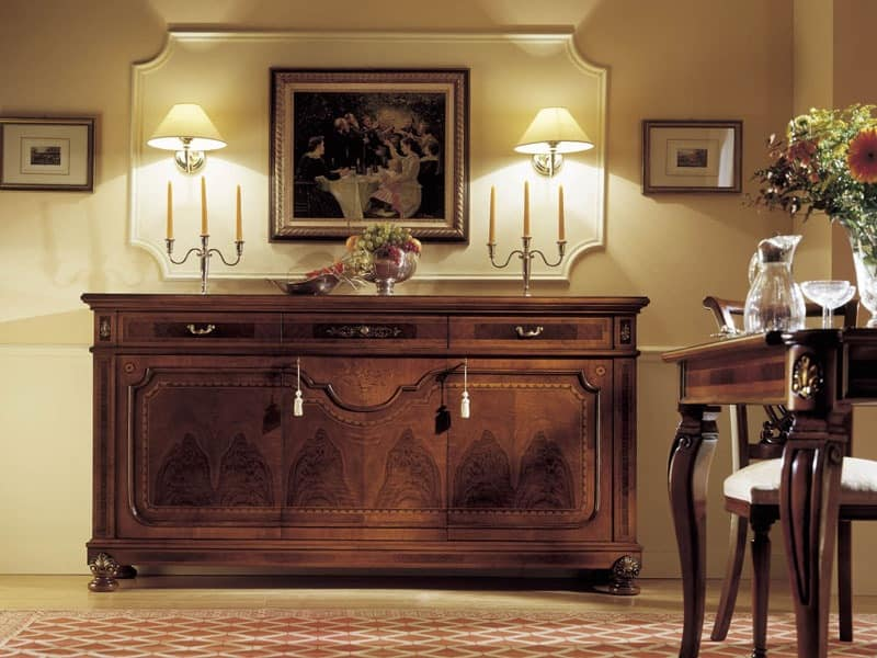 GRANDUCATO / 3 doors sideboard, Sideboard with 3 drawers and 3 doors, for Living room