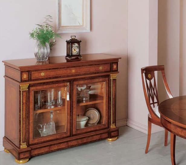 IMPERO / Sideboard with 2 doors B, Sideboard made of ash with drawers and glass doors