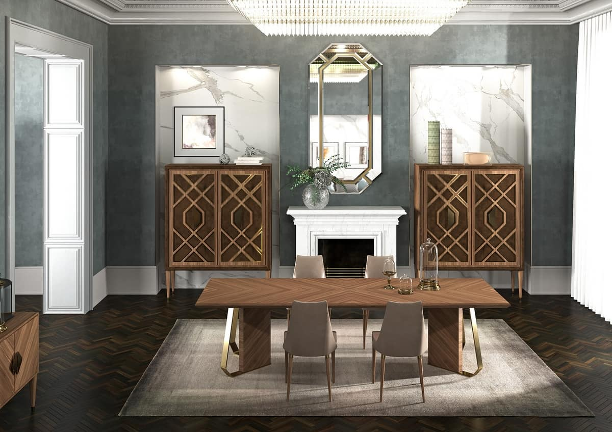 Intrigue High sideboard, High sideboard in wood veneered, with golden edges