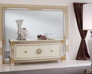 Liberty sideboard, Luxurious sideboard in classical style, made of wood decorated by hand, suitable for the decoration of entrances and dining rooms