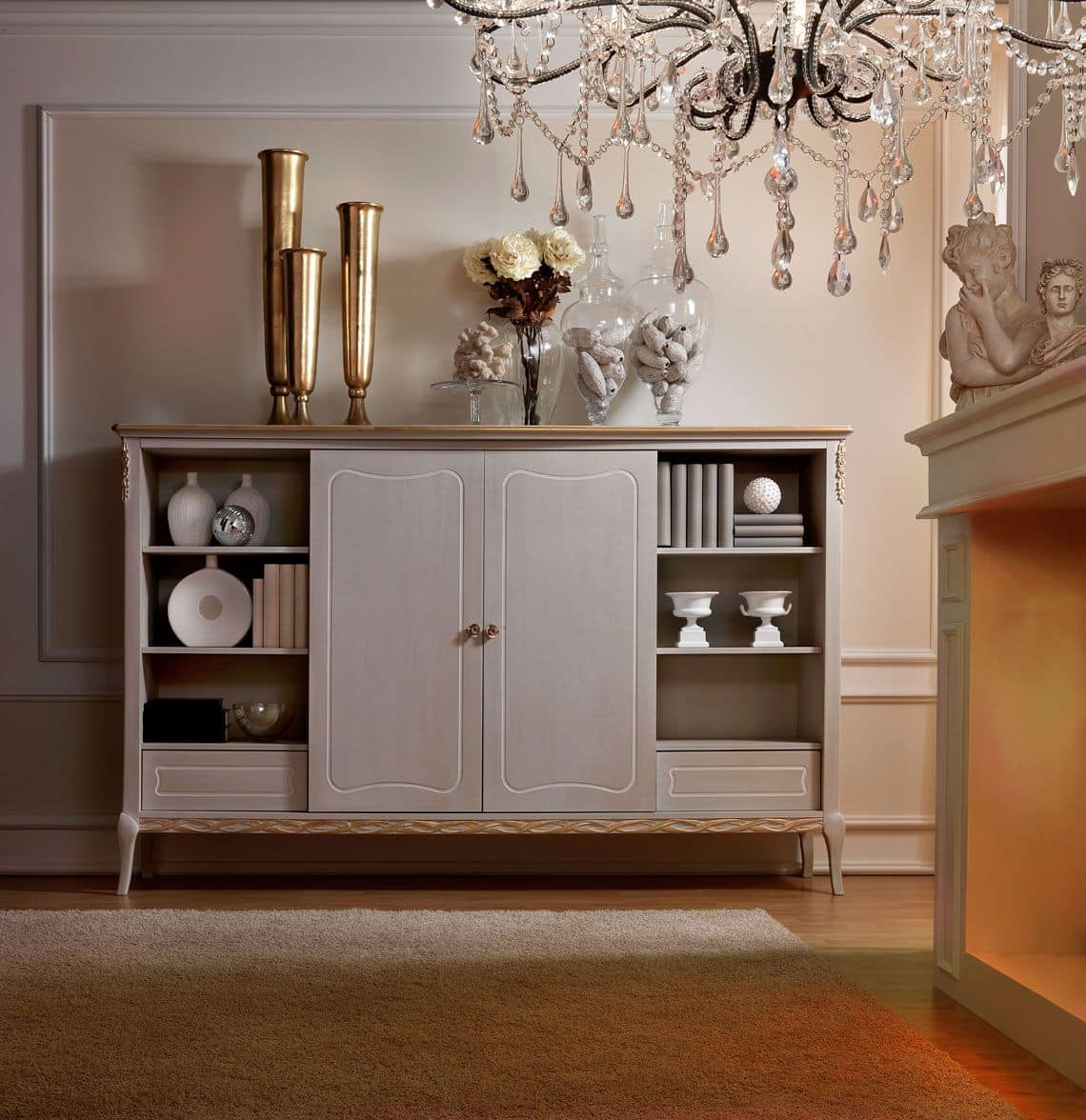 Live 5309 bar cabinet, Wooden bar cabinet, with classic style, for living room