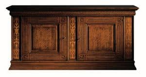 Medicea ME.0450, Walnut sideboard, with 2 doors and 2 drawers, inlaid with maple and rosewood, 1500 Florence style