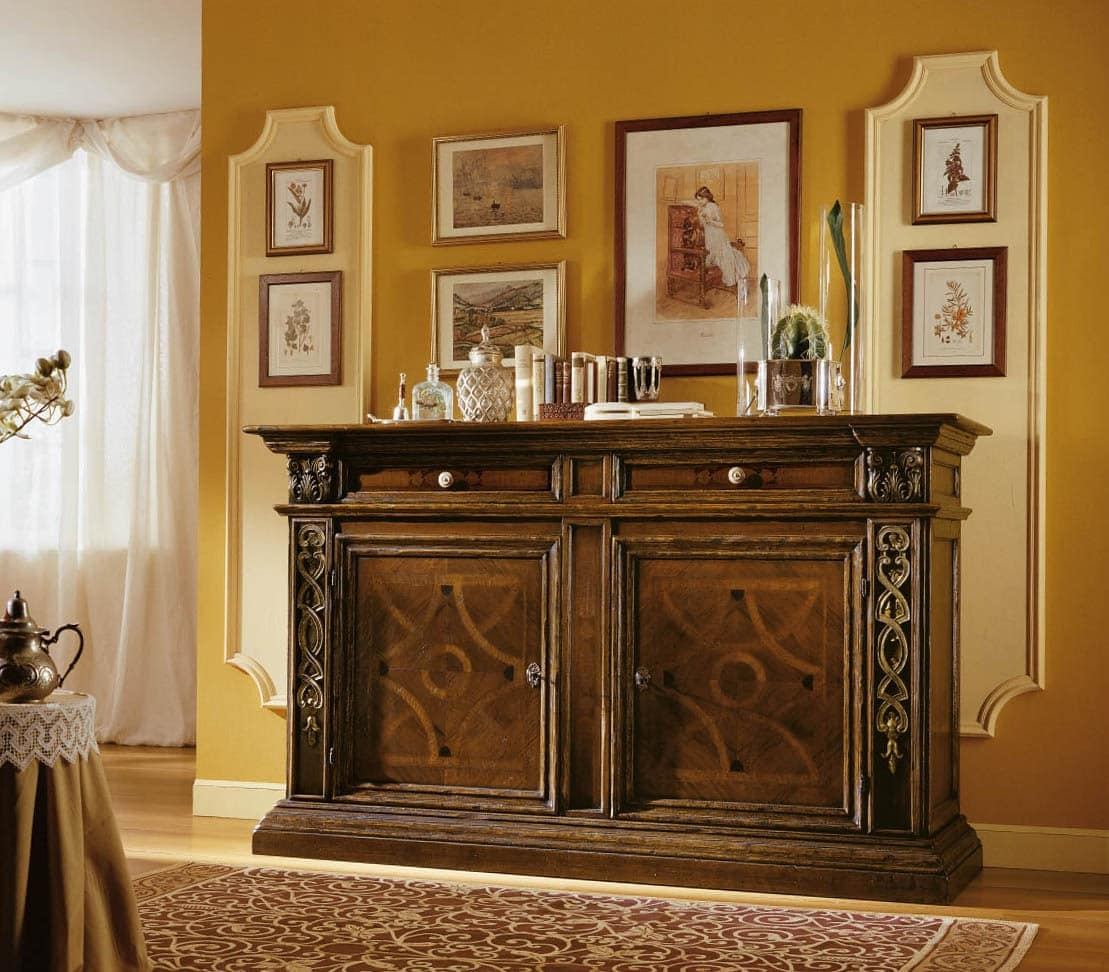 MEMORY Art. 920 / Sideboard, Sideboard inlaid and carved, in '500 Tuscan style