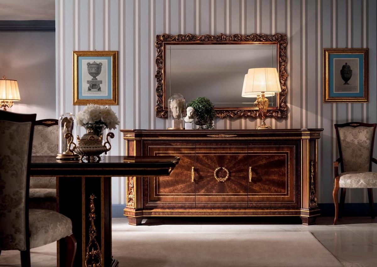 Modigliani contromobile 3 ante, Classical sideboard with prestigious inlays