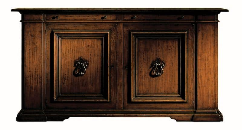 Montevarchi ME.0457, Renaissance cupboard in walnut with iron handles