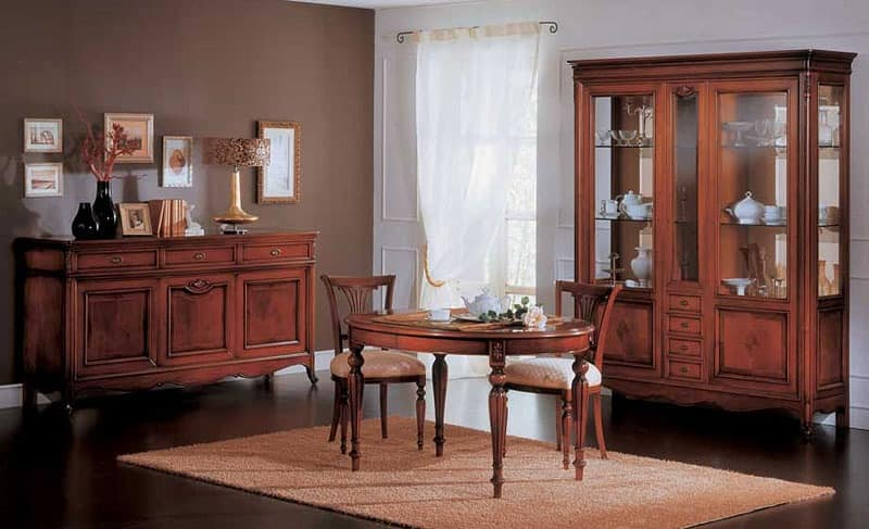 Opera sideboard, Sideboard with 3 drawers and 3 doors, in classic style