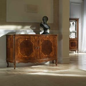 P 101, Walnut sideboard with 2 doors, carved with pantograph