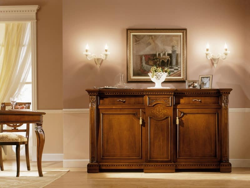 REGINA NOCE / Sideboard, Luxury classic sideboard in solid wood, for Living room