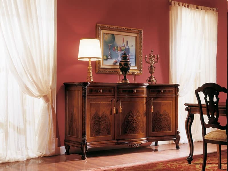 ROYAL NOCE / Sideboard with 3 doors, Sideboard with inlays in natural woods, for living rooms