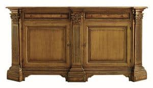 Scansano ME.0470.R, Oak sideboard with 2 doors and 2 drawers with inlays of ash, columns with Corinthian capitals, in classic luxury style