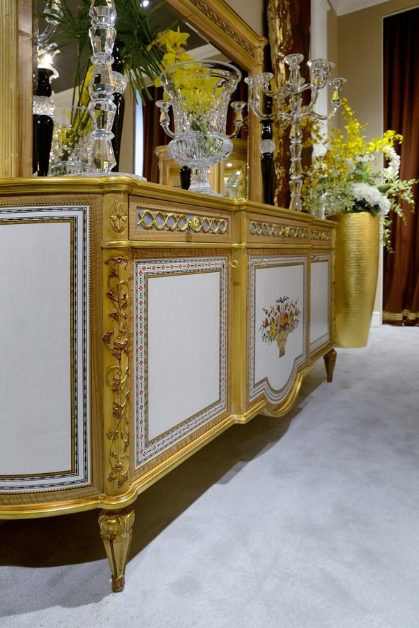 Sideboard 1440 Louis XVI style, Classic sideboard with floral inlays