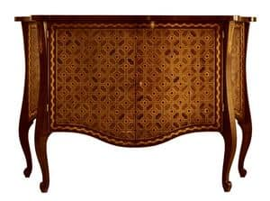 Velasquez RA.0648, Shaped and inlaid walnut sideboard with 2 doors and 2 inside drawers, for classic environments