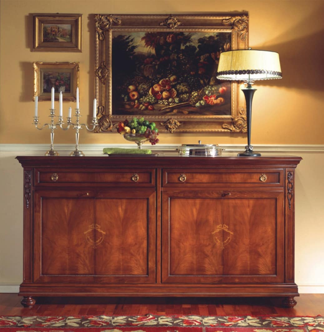 Voltaire sideboard, Walnut sideboard with 4 doors, polished with wax