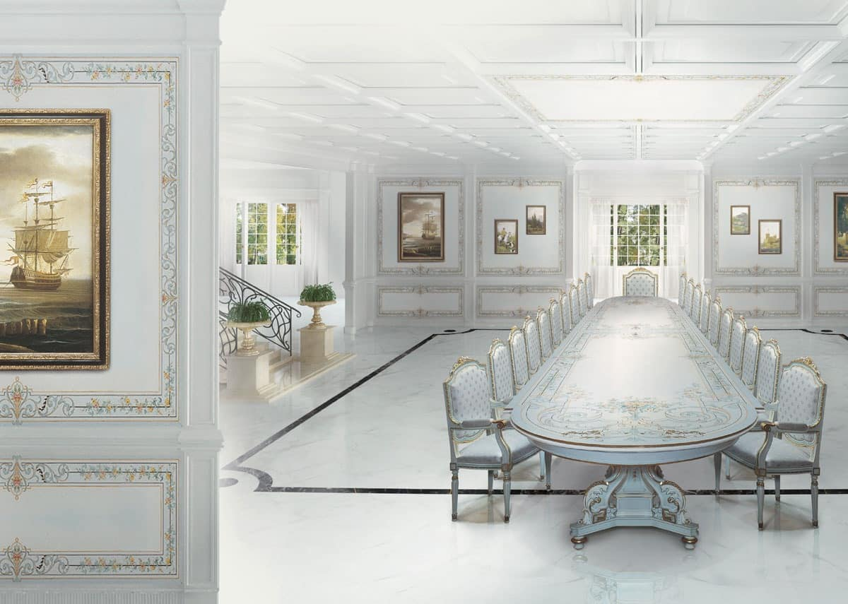 Woodwork painted white for dining rooms in classic style for Sala da pranzo bianca