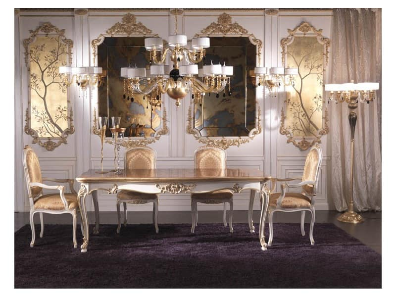 Boiserie, Wooden wall in luxurious classical style, hand-decorated