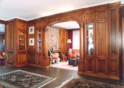 Walnut boiserie, with arch with columns, classical style ...