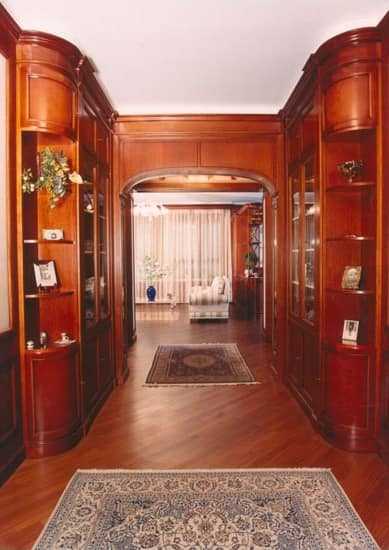 Boiserie In Cherry Wood For Hallway, Classic Style