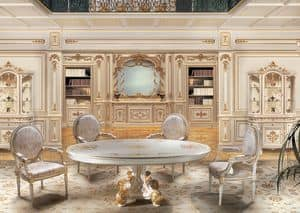F850 Boiserie, White lacquered wood paneling, for lounges in classic luxury