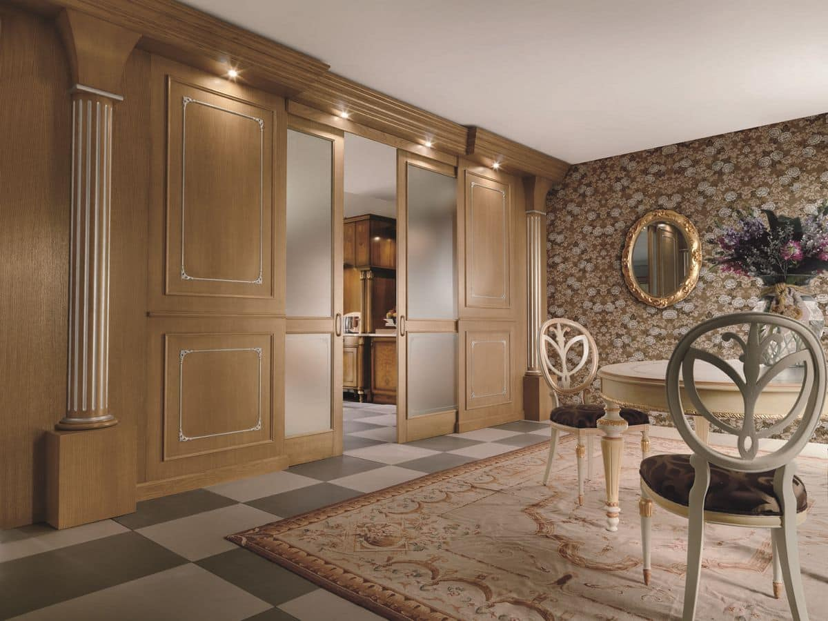 Boiserie Completely Realized In Solid Wood Panels Carved