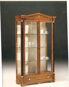 2480 SHOWCASE, Wooden display cabinet with 2 glass doors, classic style