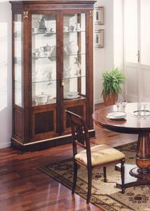 2900 display cabinet, Walnut showcase with inlays