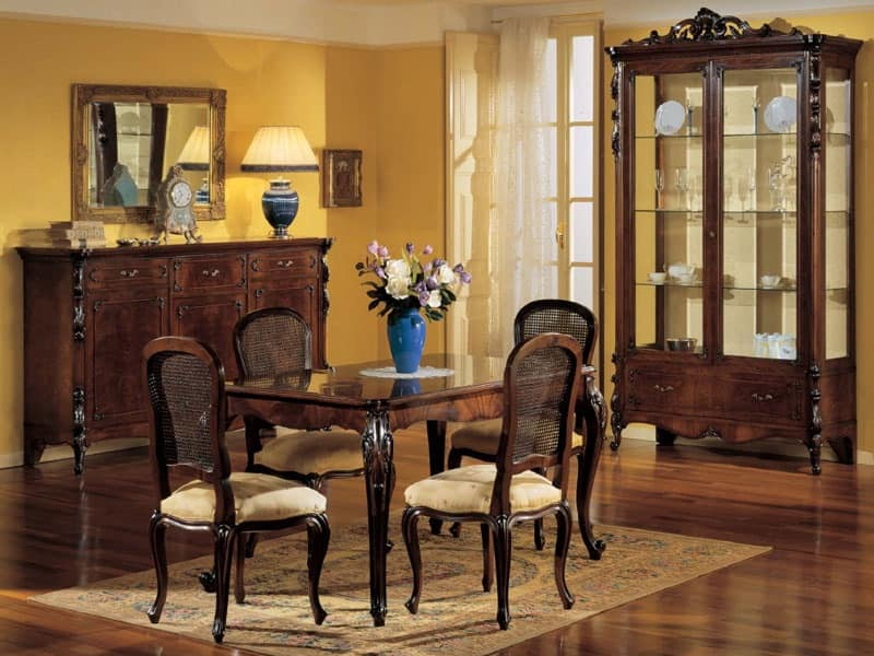 3085 CABINET, Display cabinet in classic luxury style, hand-carved walnut