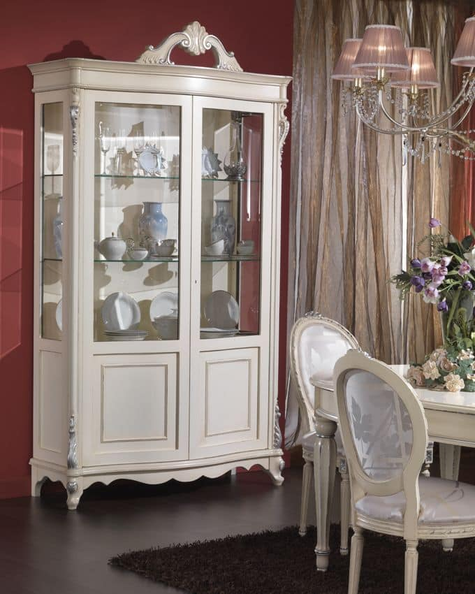 3440 DISPLAY CABINET, Veneered cabinet with 2 doors and shelves made of glass