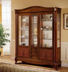 Alice showcase 3 doors, Classic display cabinet with 3 doors and 3 drawers, with curved hat