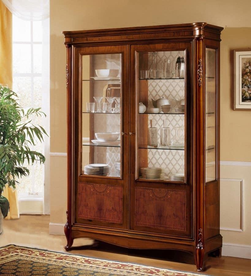 Alice showcase, Classic walnut display cabinet with 2 doors, fine inlays