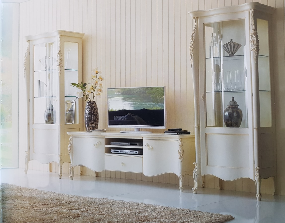 Art. 109V, White lacquered display case, with single door