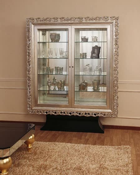 Art. 2405 Valentina Day, Classic display cabinet with 2 doors, silver leaf finishes