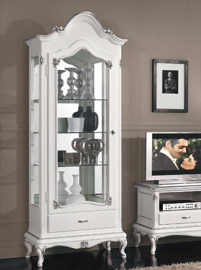 Art. 3202, Showcase with 1 doors, white lacquered finish