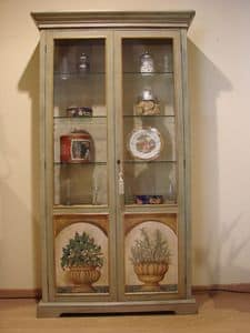Art. 572, 2 doors display cabinet, embossed decors, for dining room