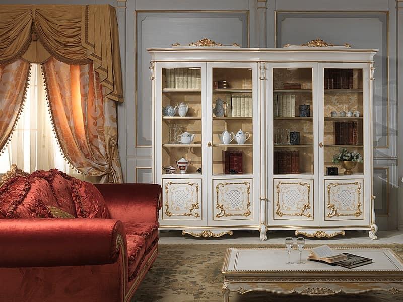 Art. 9007 vetrina showcase, Elegant luxury showcase, made in solid wood