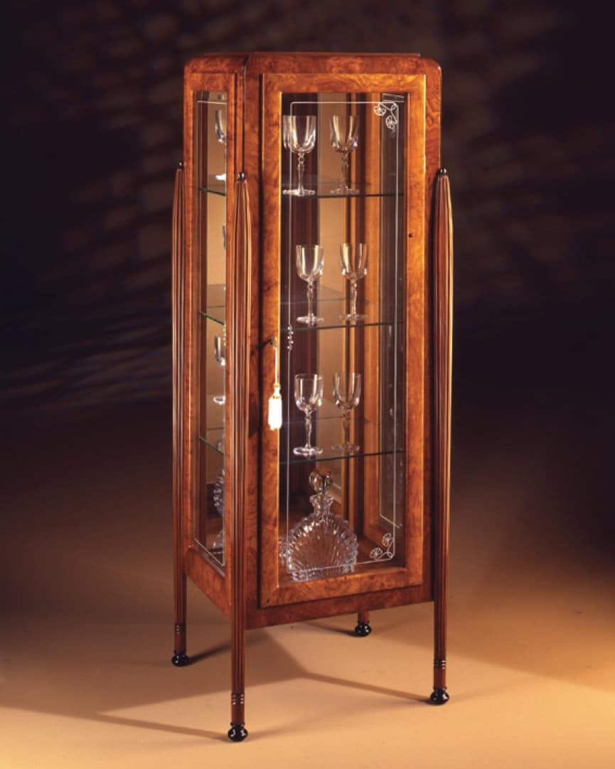 Art Déco Art.537 glass-case 1 door, Display cabinet in ash and Zebrano, with 1 door