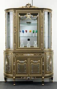 Art. L-920 K, Wooden display cabinet, with 5 doors and one drawer, flower decorations, classic style