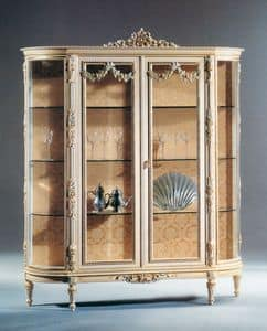 Art. L-925, Wooden showcase white lacquered with two doors and glass shelves, classically luxurious style