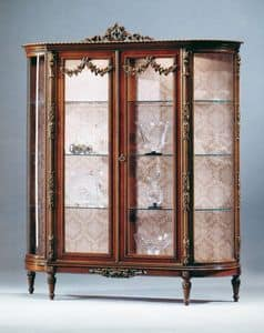 Art. L-925 N, Wooden showcase in walnut color, two doors and glass shelves, for living rooms in classic style