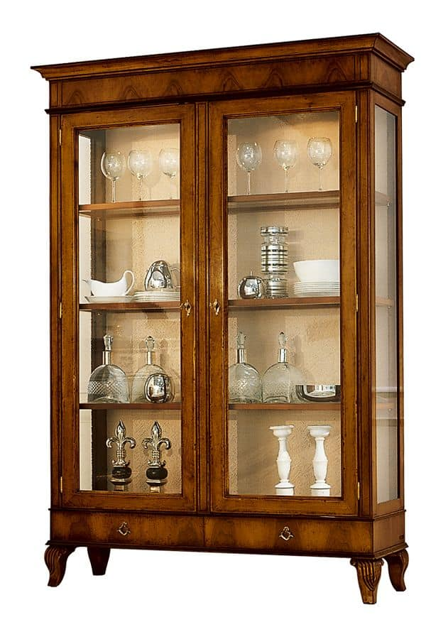 Bergerac VS.6564, Classic display cabinet, in walnut with 2-door, back in fabric